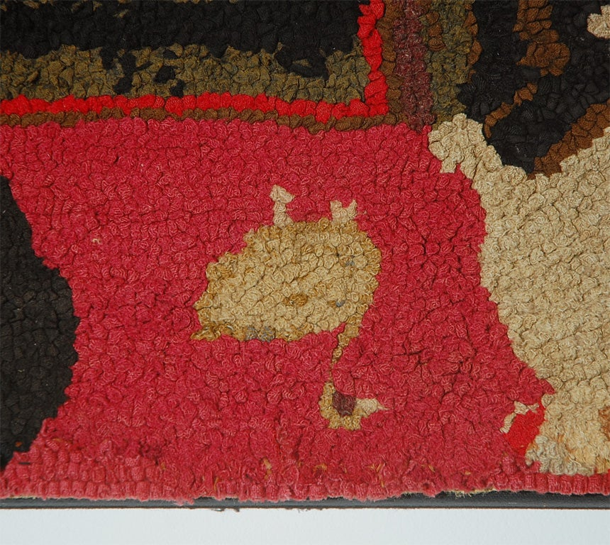 This RARE amp UNUSUAL PICTORIAL FARM ANIMALS HAND HOOKED MOUNTED RUG Is