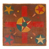 FOLKY 19THC STARS & HEARTS REVERSIBLE GAME BOARD