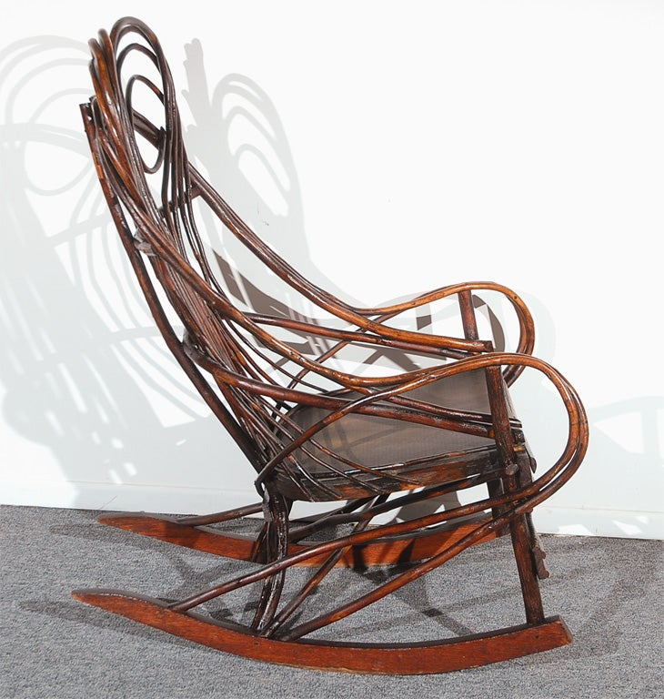 Elegant 19THC TWIG//BENTWOOD ROCKING CHAIR FROM THE MID WEST At 1stdibs