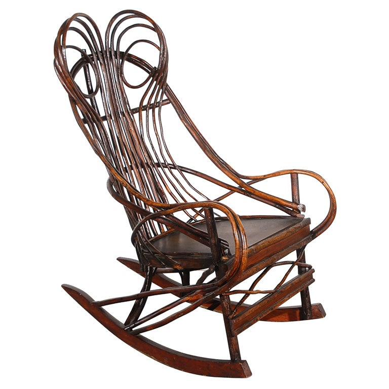 19THC TWIG//BENTWOOD ROCKING CHAIR FROM THE MID-WEST at 1stdibs