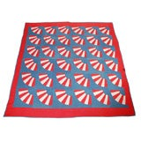 20TH C. PATRIOTIC RED, WHITE AND BLUE FAN QUILT FROM NEW ENGLAND