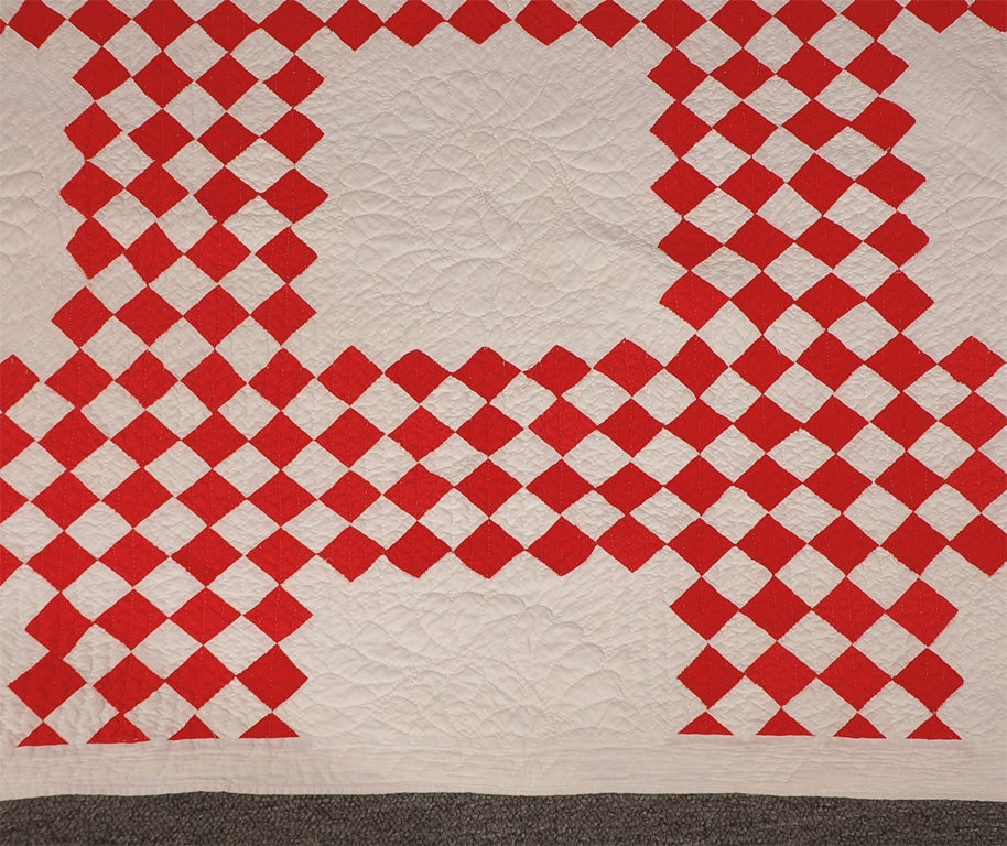 19thc Red Amp White Postage Stamp Irish Chain Quilt At 1stdibs
