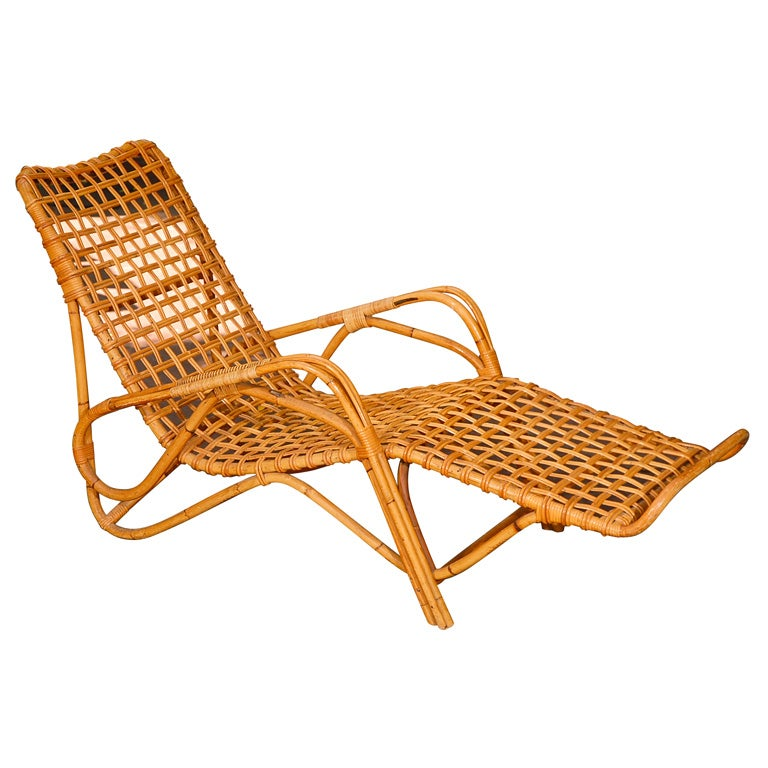 Rattan chaise at 1stdibs for Chaise longue rattan