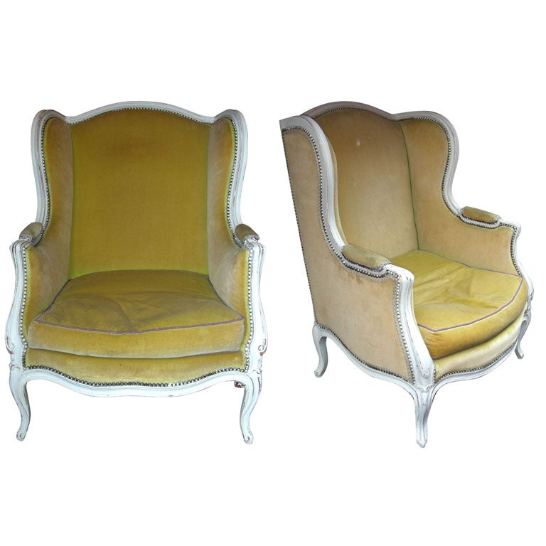 Two 1900 Louis Xv Style Winged Bergeres At 1stdibs
