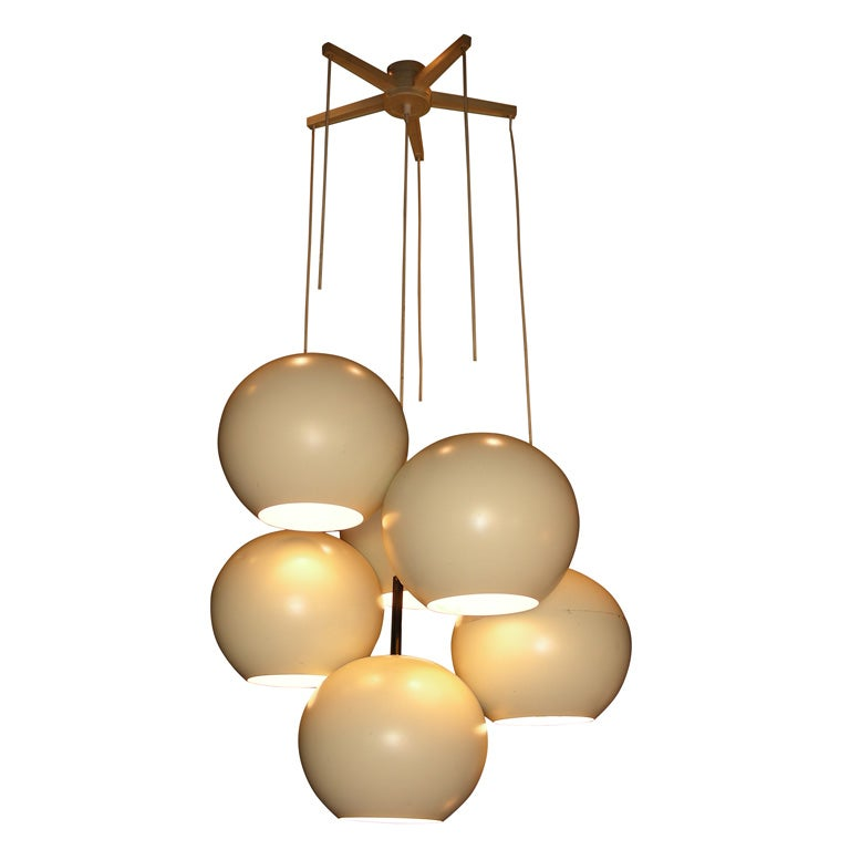 1970s German White Chandelier For Sale