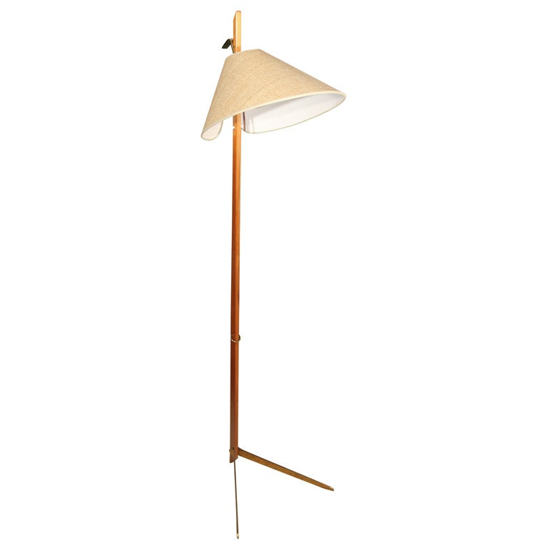 bronze and wood angled floor lamp by kalmar austrian With angled floor lamp wood