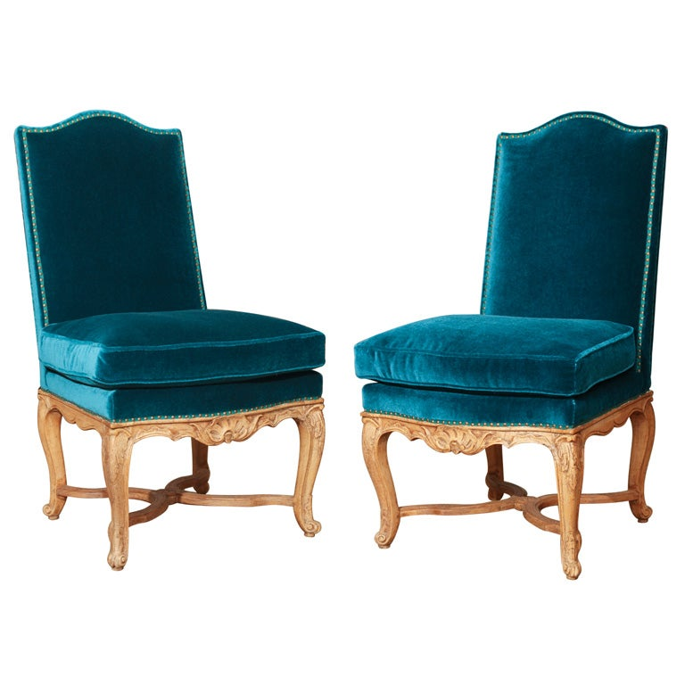 A Pair Of Period French Chairs With Missoni Fabric At 1stdibs: Pair Of French Side Chairs Upholstered In Teal Mohair