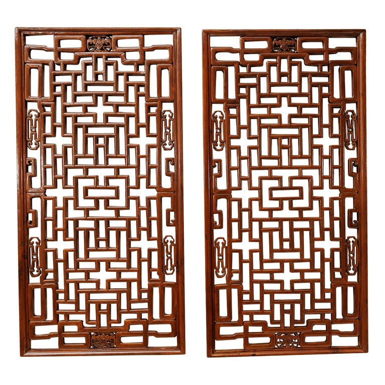 Pair Of Chinese Lattice Window Panels At 1stdibs
