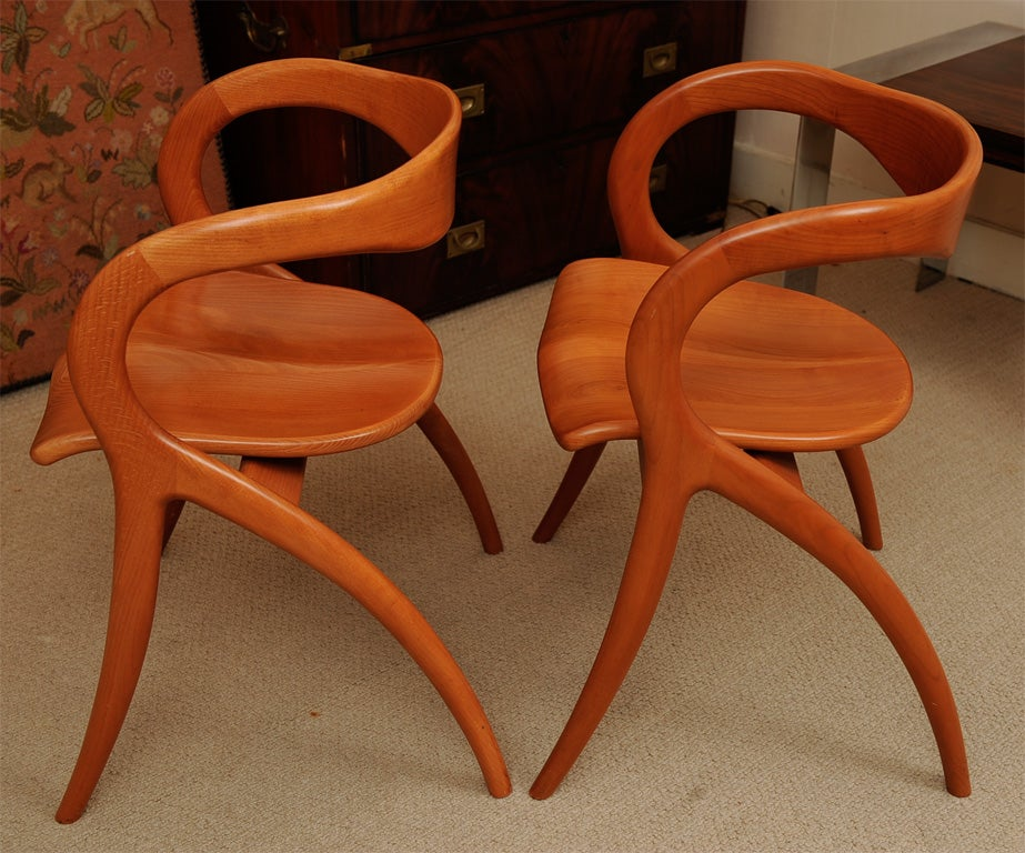 Set Of Four Wood Organic Sculptural Chairs By A SIBAU At 1stdibs