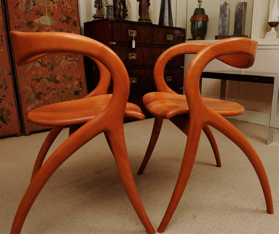 Set Of Four Wood Organic Sculptural Chairs By A Sibau At