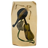 Hand-Painted Parchment Plaque with Lacquered Finish by Aldo Tura