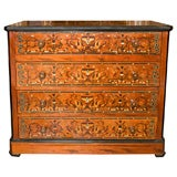 Late 19th c. South American Wood Chest of Drawers with Inlaid Mother of Pearl