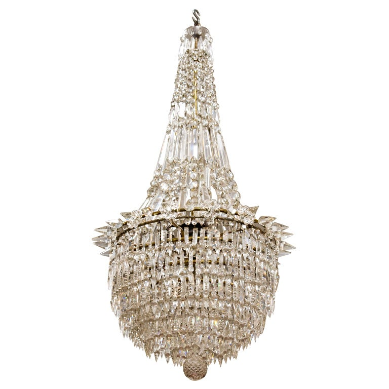 Danish Empire Crystal Chandelier Circa 1900 At 1stdibs