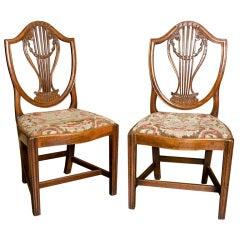 George III Shield Chairs, w/ 17th c. needle work seats