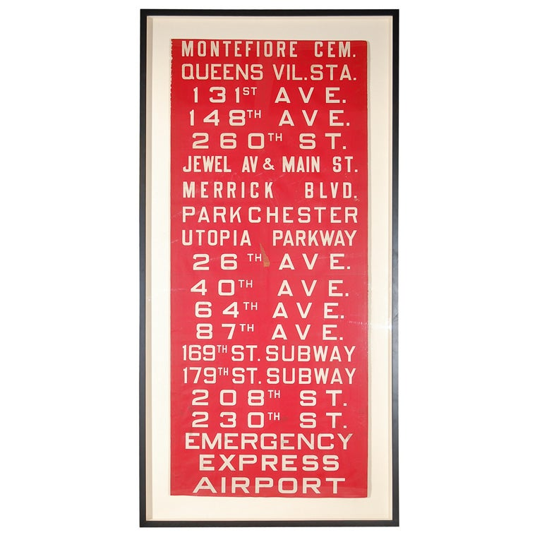 Unusual Red Framed New York Bus Destination Sign