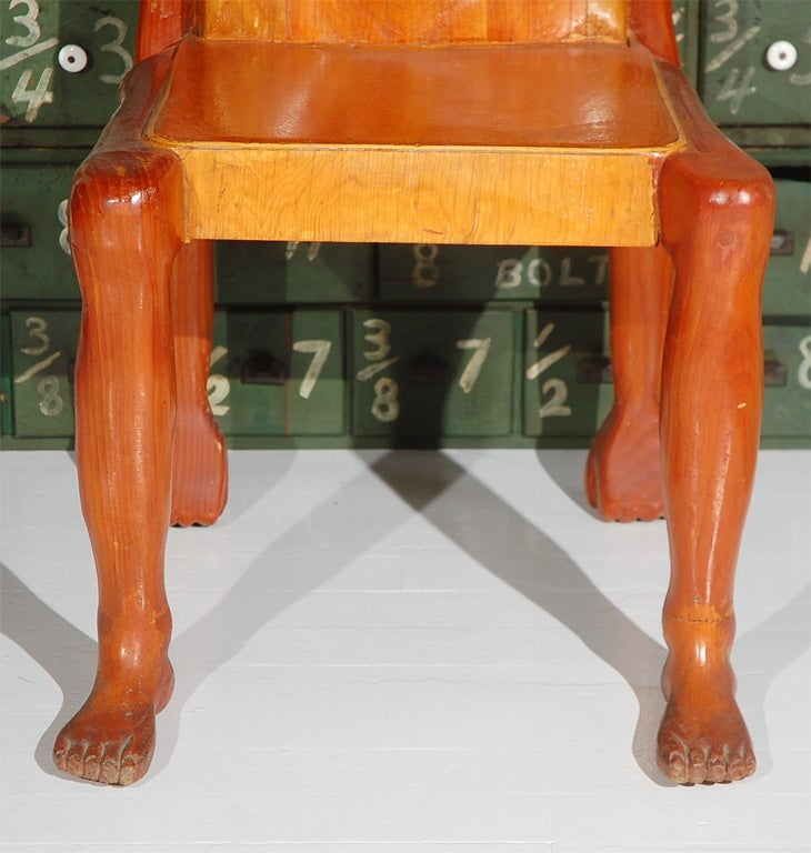 Carved Quirky American Folk Art Human Form Chair For Sale