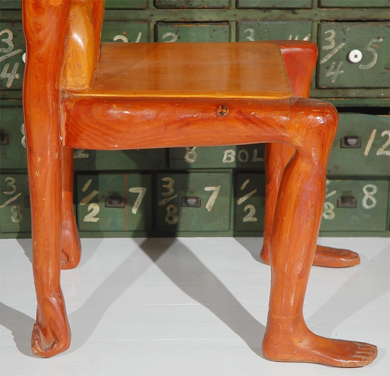 Wood Quirky American Folk Art Human Form Chair For Sale