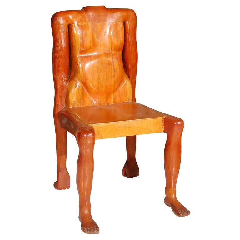 Quirky American Folk Art Human Form Chair For Sale