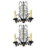 Pair of French Wrought Iron Squiggle Sconces