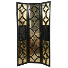 A Jansen Black Lacquer and Parcel Gilt 3 Panel Screen