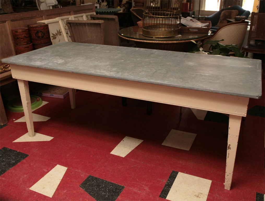 Zinc top table at 1stdibs for Kitchen set zink