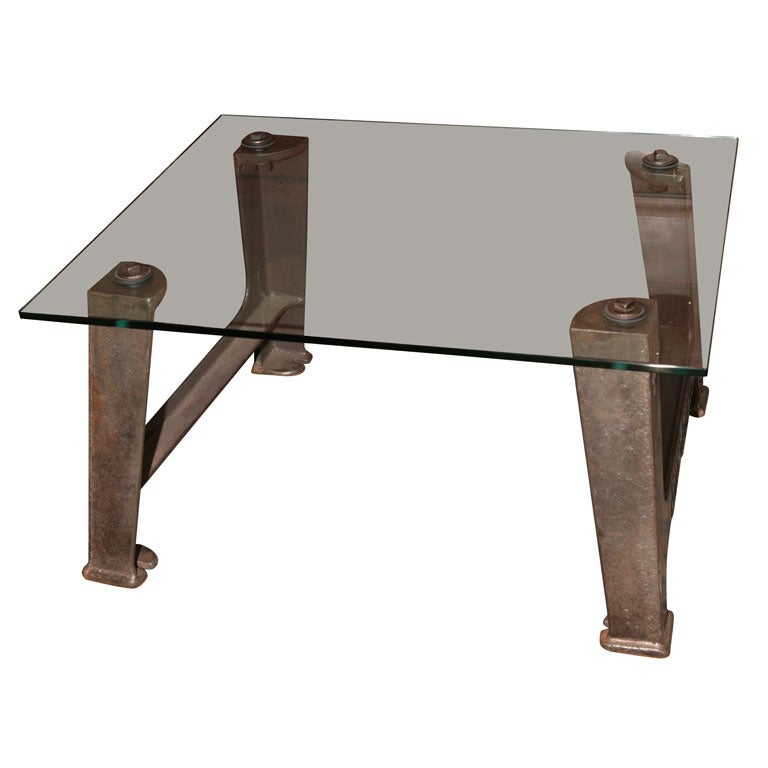 Industrial Glass/Metal Coffee Table At 1stdibs
