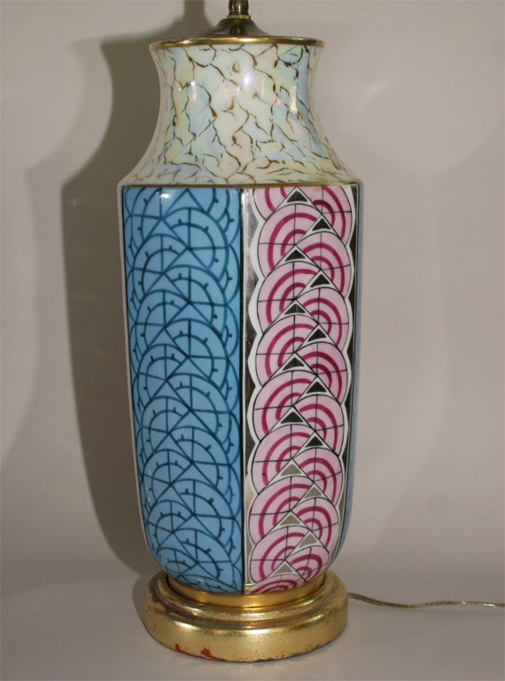 pair of art deco lustre limoges lamps converted from vases. Black Bedroom Furniture Sets. Home Design Ideas