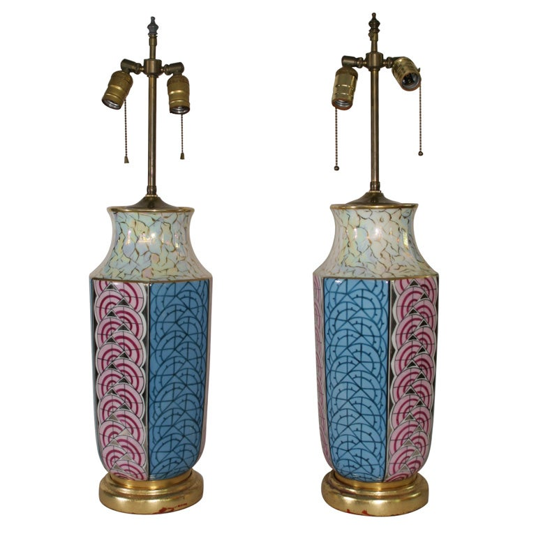 pair of art deco lustre limoges lamps converted from vases at 1stdibs. Black Bedroom Furniture Sets. Home Design Ideas