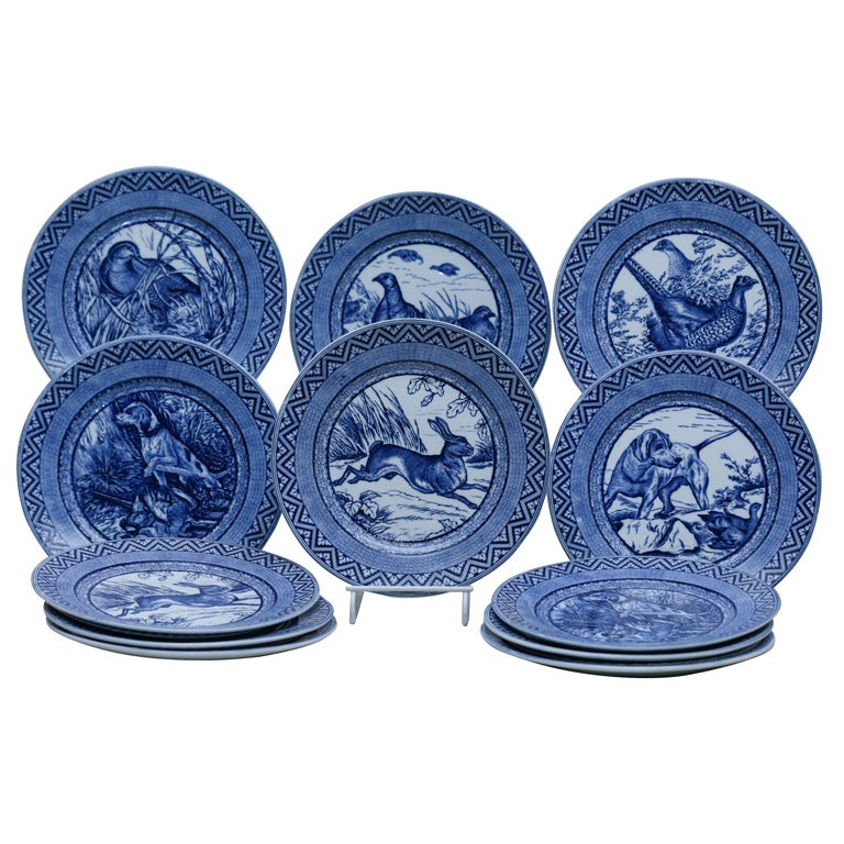 Set of 12 Wedgwood 19th Century Blue and White Game Subjects Dinner Plates