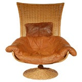 Wicker Swivel Easy Chair by Gerard van den Berg