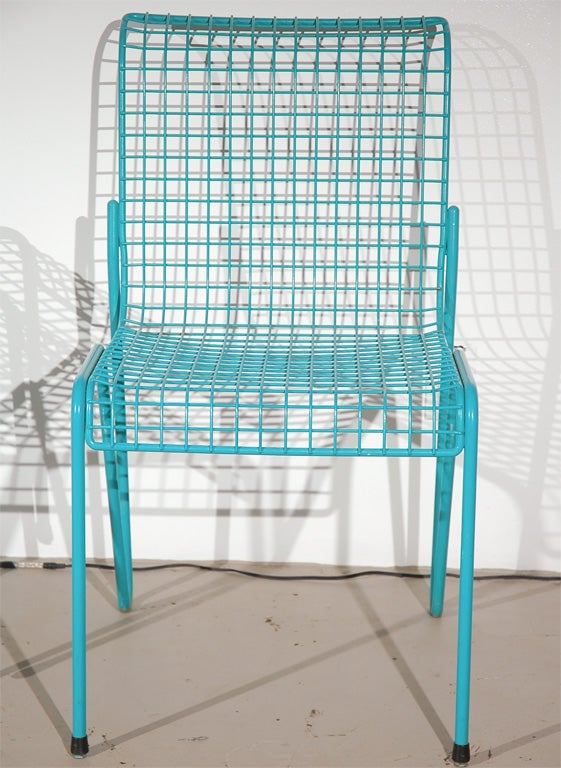 Set of Eight Turquoise Metal Grid Outdoor Chairs at 1stdibs
