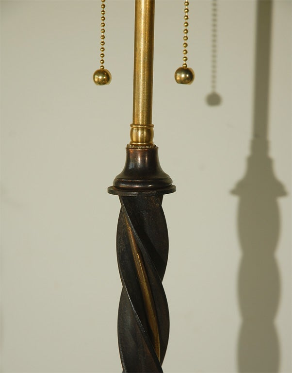 Brass And Iron Twisted Floor Lamp At 1stdibs