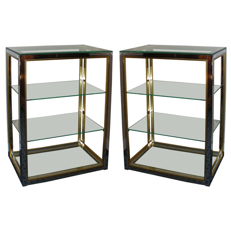 Two 1970s chromed metal and gilt brass etag res at 1stdibs - Etagere cases carrees ...