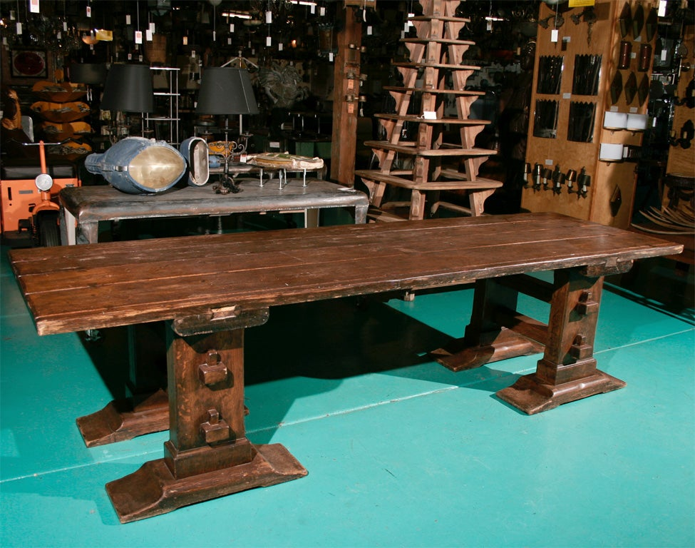 Arts and crafts oak dining table at 1stdibs - Arts and crafts dining room furniture ...
