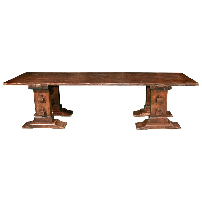 Arts And Crafts Oak Dining Table At 1stdibs