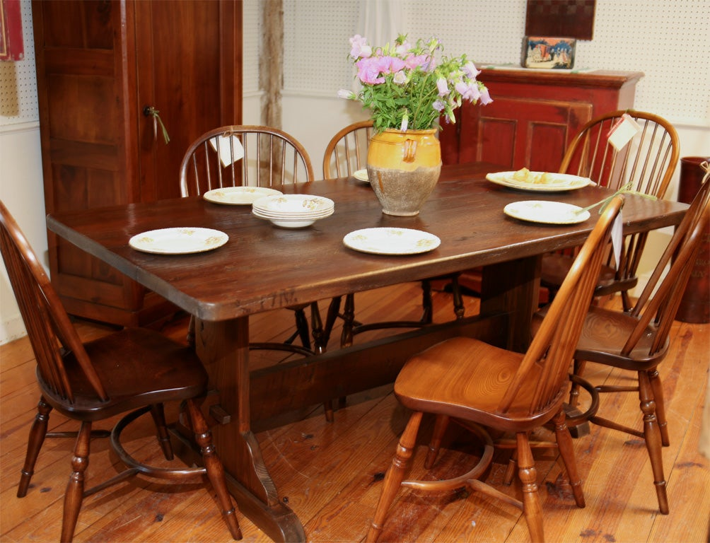 Reproduction Oak Trestle Table For Sale At 1stdibs
