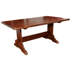 Reproduction Oak Trestle Table
