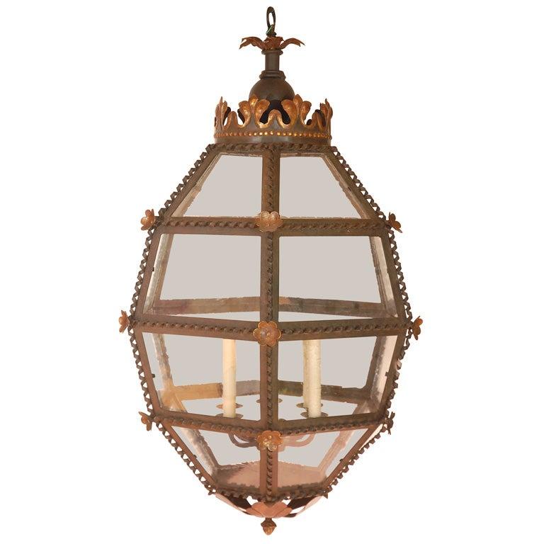 Large European Style Crowned Lantern At 1stdibs