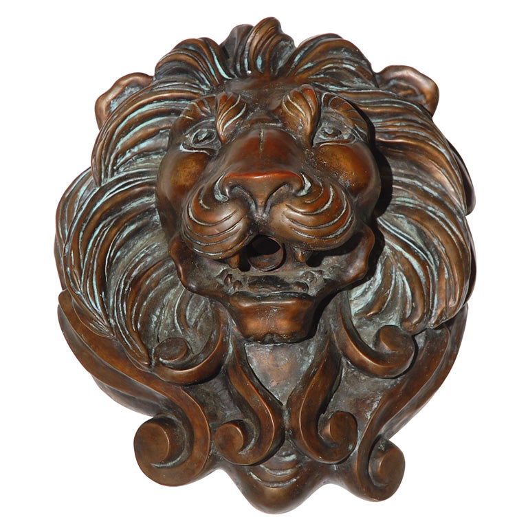 New Cast Bronze Lion's Head Fountain Spitter at 1stdibs