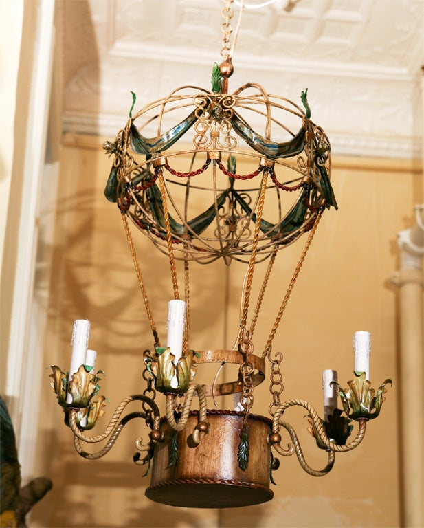 Vintage Tole Balloon Form Chandelier At 1stdibs