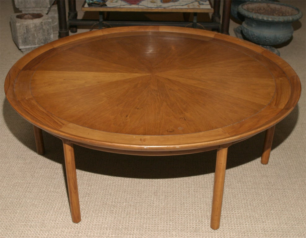 Large round wooden coffee table at 1stdibs for Large wood coffee table