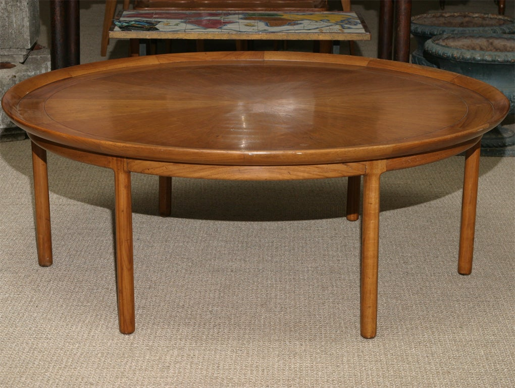 Large round wooden coffee table at 1stdibs for Large wooden coffee tables