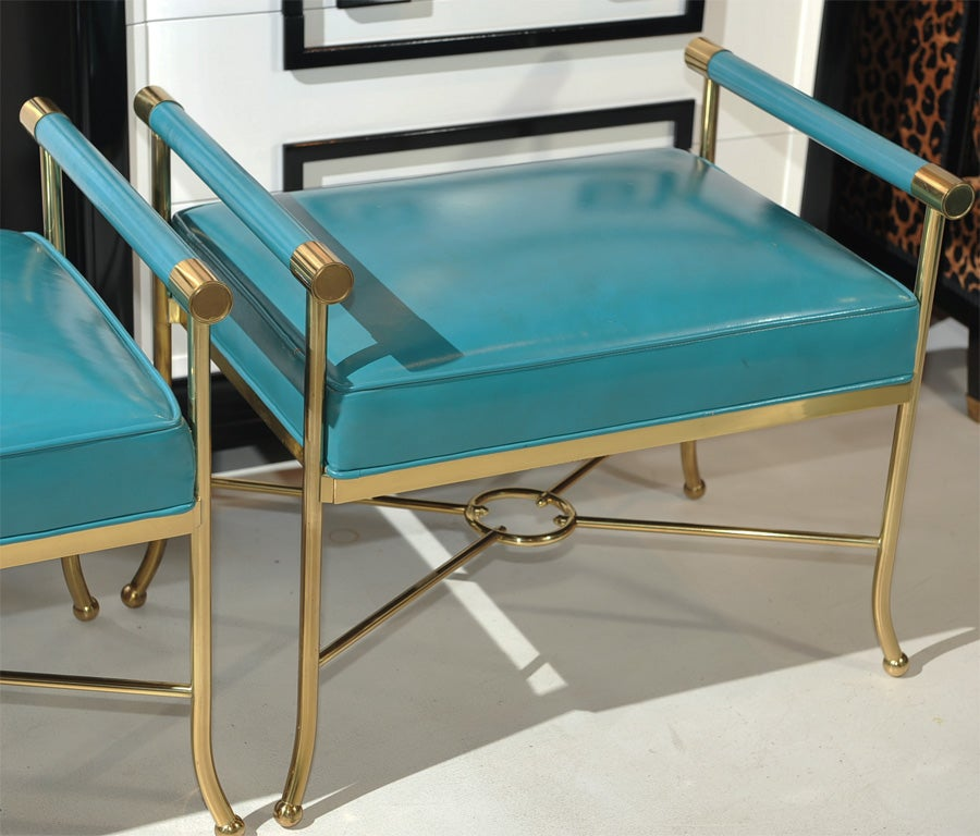 American Pair of Sophisticated Turqoise Leather Benches
