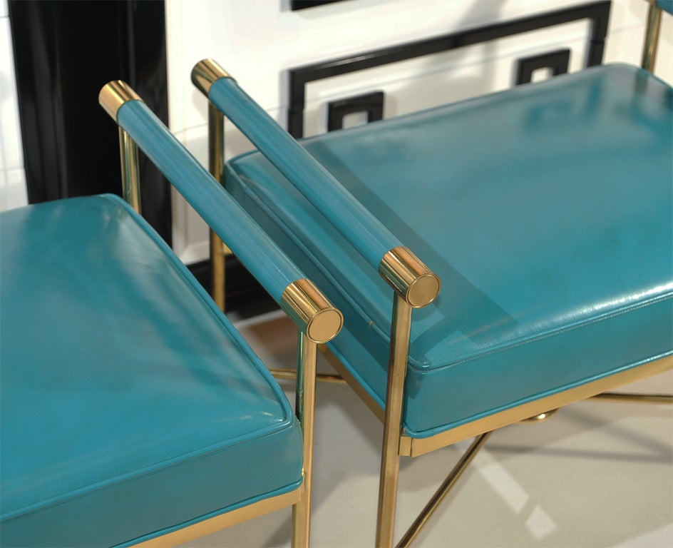 Mid-20th Century Pair of Sophisticated Turqoise Leather Benches For Sale