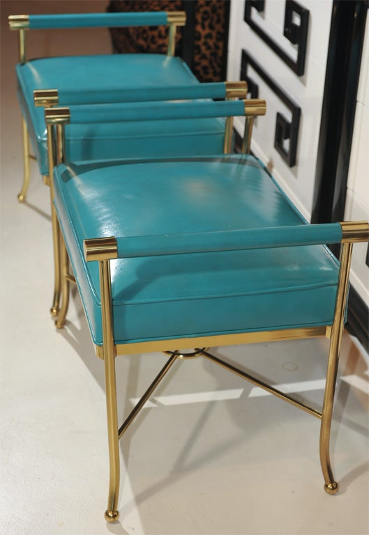 Brass Pair of Sophisticated Turqoise Leather Benches For Sale