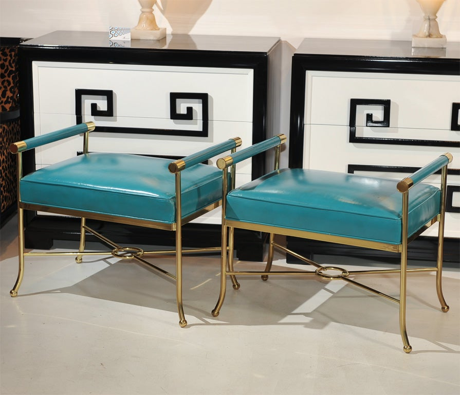 Pair of Sophisticated Turqoise Leather Benches For Sale 1