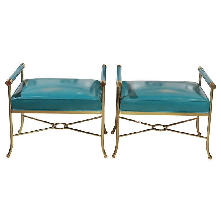 Pair of Sophisticated Turqoise Leather Benches For Sale