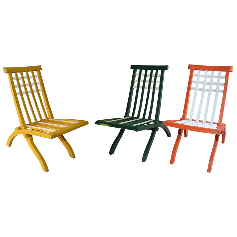 Set Of Wooden Folding Chairs By Mallet Stevens French