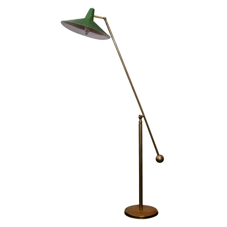 Italian brass floor lamp with green shade for sale at 1stdibs for Floor lamp with green shade