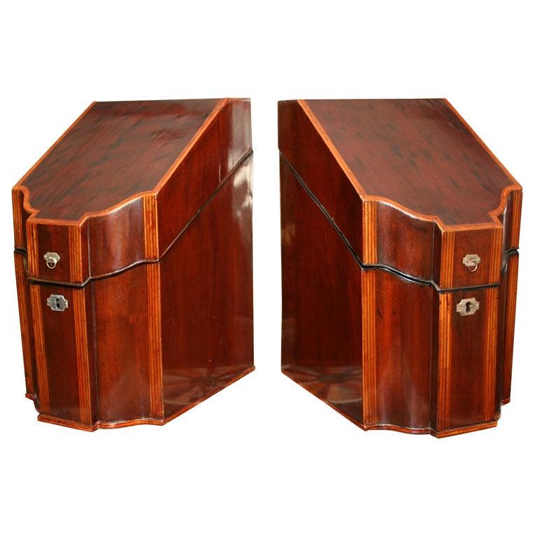 Pair of Inlaid Mahogany Knife Boxes, circa 1790